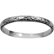 1920's 18k Solid White Gold Wedding Ring Stacking Band