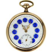 Highmere 17 Jewel Cobalt Blue Enamel Dial Pocket Watch