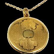 "Victorian Gold Filled Locket 1 1/4"" Diameter"