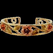 Krementz Retro Era Cuff Bracelet With Rose Gold Filled Roses