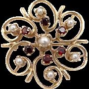 14k Gold Garnets and Pearls Pin