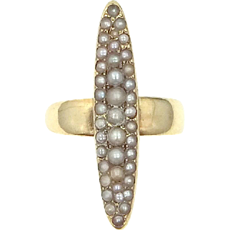 Victorian 14k Gold and Seed Pearls Lady's Navette Ring