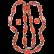 1930's Venetian Art Glass Infused Goldstone Orange Glass Necklace & Earrings
