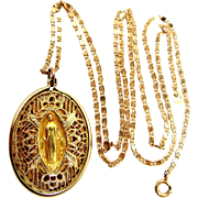 1930s Gold Filled Filigree Miraculous Medal with Original Chain