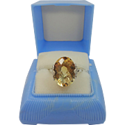 Pretty Sterling Fiigree Ring with 9 Carat Synthetic Citrine & Box