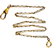 Art Deco Two Tone Yellow and White Gold Filled Watch Chain