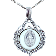 1930's Sterling Silver, Marcasites and Mother of Pearl Miraculous Medal & Chain