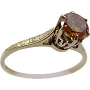 1930's 10k Gold Filigree Ring with 0.52 Carat Solitaire Deep Yellow Orange Diamond