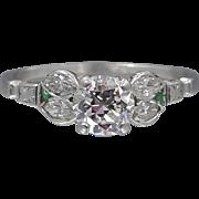 1920's Platinum Diamonds & Emeralds Ring 0.70 Diamond Solitaire