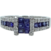 14k White Gold Sapphires and Diamonds Ladies Size 7 Ring