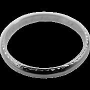 18k White Gold Circa 1930's Etched Wedding Band Stacking Ring