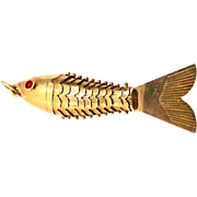 Vintage 18k Gold Articulated Fish Pendant or Charm
