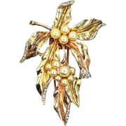 Trifari Alfred Philippe Sterling Vermeil Faux Pearl Berries Ivy Leaf Pin Clip Circa 1940's