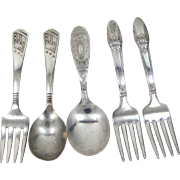 5 Vintage Baby Spoons and Forks