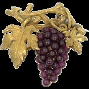 Czechoslovakia Gilt Brass and Glass Grape Motif Pin / Pendant Circa 1930's