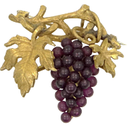 Czechoslovakia Gilt Brass and Glass Grape Motif Pin / Pendant Circa 1930's