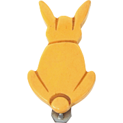 Mid Century Carved Bakelite Bunny Clip Pin Perfect for Easter