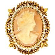 Florenza Carved Shell Cameo Pin / Pendant with Faux Pearls