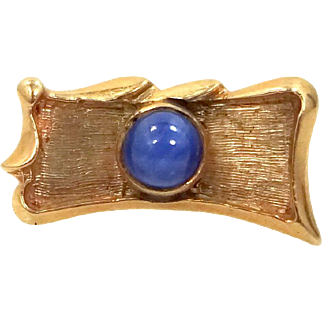 14k Solid Gold and Linde Star Sapphire Tie Tack