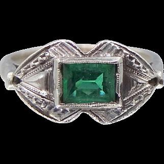 Art Deco 10k White Gold Filigree Ring