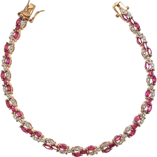Sterling Vermeil and Synthetic Rubies Bracelet