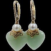 14k Gold Jadeite Cultured Pearls Lever Back Earrings