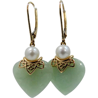 14k Gold Jadeite Cultured Pearls Lever Back Earrings