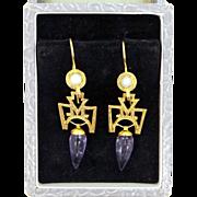 Pretty Sterling Vermeil Egyptian Style Amethyst & Pearl Dangle Earrings