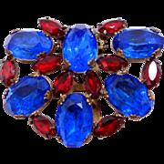 Bright Czech Glass & Gilt Brass Dress Clip