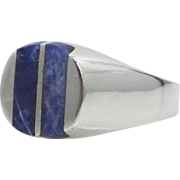 Sterling Silver Blue Agate Man's Ring