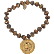 Lydell N.Y.C. Natural Tiger Eye Bracelet with Peace Sign Charm