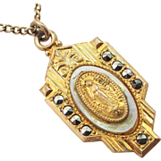 1930's Gold Filled Marcasites Miraculous Medal on Original Chain