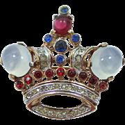 Trifari 1940's Alfred Philippe Moonstone Glass Crown Pin
