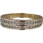 10k Gold and Diamonds Stacking Ring Wedding Band Size 10 3/4