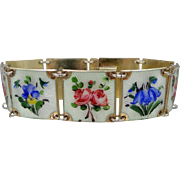 Elvik & Co. Oslo Norway Sterling Silver Enamel Floral Bracelet