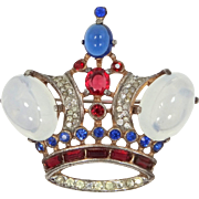 1944 Alfred Philippe Sterling Trifari Crown Pin