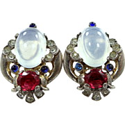 Trifari 1945 Jewels of Tanjore Sterling Silver Clip Earrings Alfred Philippe Designer
