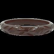 Carved Brown Bakelite Bangle Bracelet