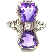 18k White Gold Filigree Art Deco Diamond and Amethyst Ring