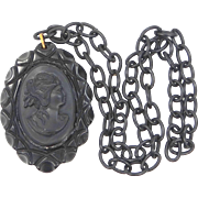 1930's Bakelite and Celluloid Mourning Cameo Necklace