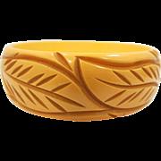 Yellow Carved Bakelite Leaf Pattern Bangle Bracelet