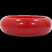 Thick Cherry Red Bakelite Bangle Bracelet