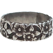 Art Deco Sterling Silver Floral Ring Signed UNCAS