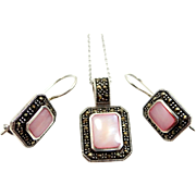 Pretty Sterling Silver Marcasites and Pink Mother of Pearl Necklace & Earrings Set