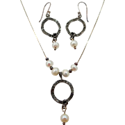 Shube's Sterling Silver and Freshwater Pearls Necklace & Earrings