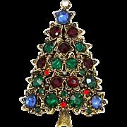 "1960's Pakula ""Jeweled"" Christmas Tree Pin Rare Style"