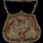 "Antique ""Jeweled"" Frame Petit Point Handbag Purse"