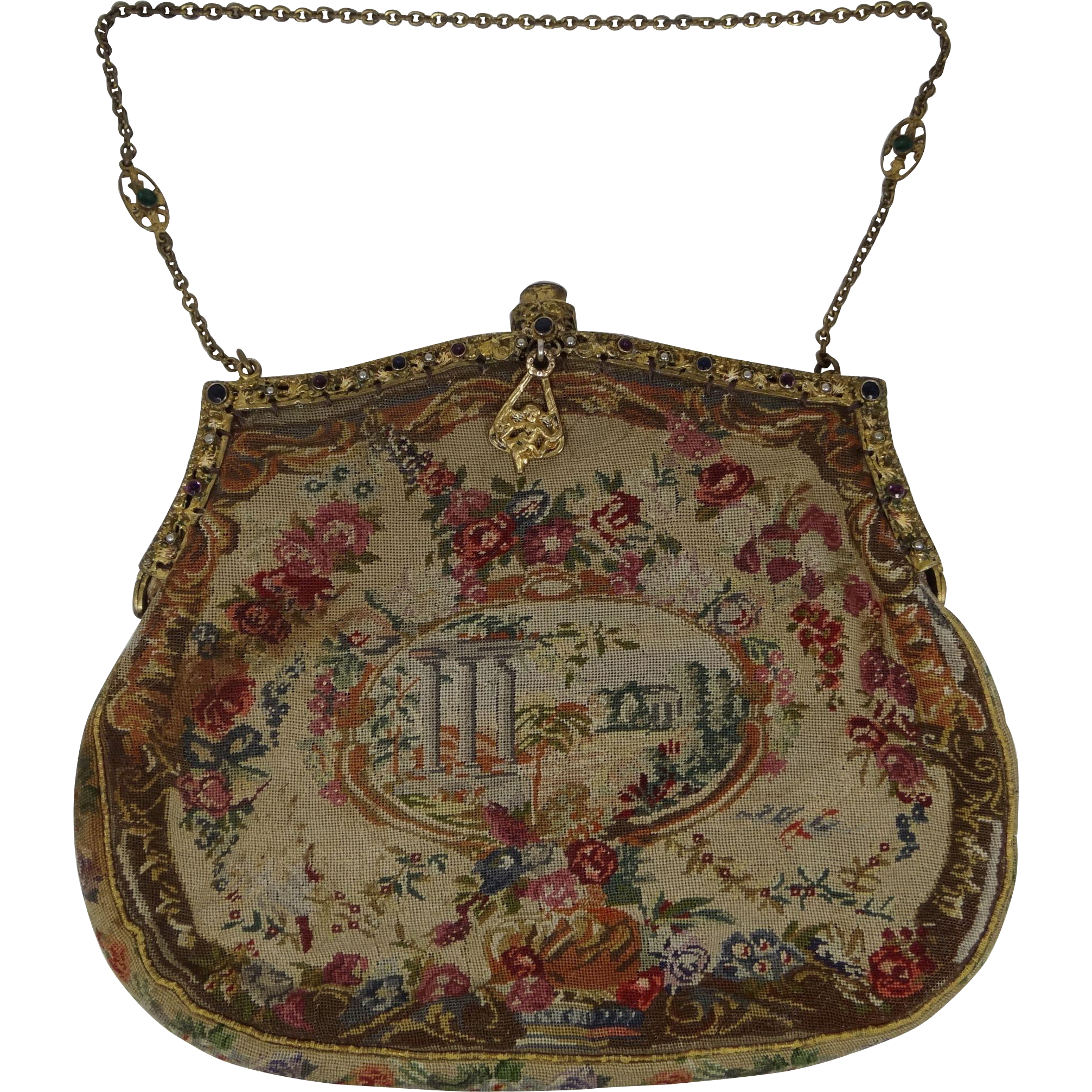 "Antique ""Jeweled"" Frame Petit Point Handbag Purse"