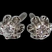 14k White Gold & Diamonds Buttercup Retro Era Earrings