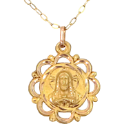 10k Gold Sacred Heart of Jesus Medal and Chain
